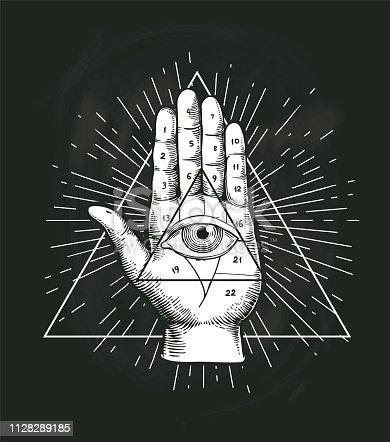 All Seeing Eye Triangle Geometric Vector Design. Providance Pyramid Tattoo Symbol with Occult Secret Hand Sign. Mystic Spiritual Illuminati Emblem Sketch Drawing Illustration
