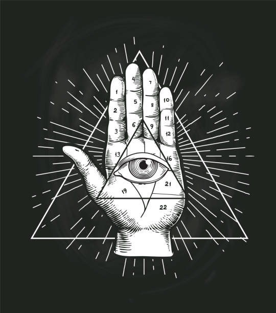 all seeing eye triangle geometric vector design. providance pyramid tattoo symbol with occult secret hand sign. mystic spiritual illuminati emblem sketch drawing illustration - freemasons stock illustrations