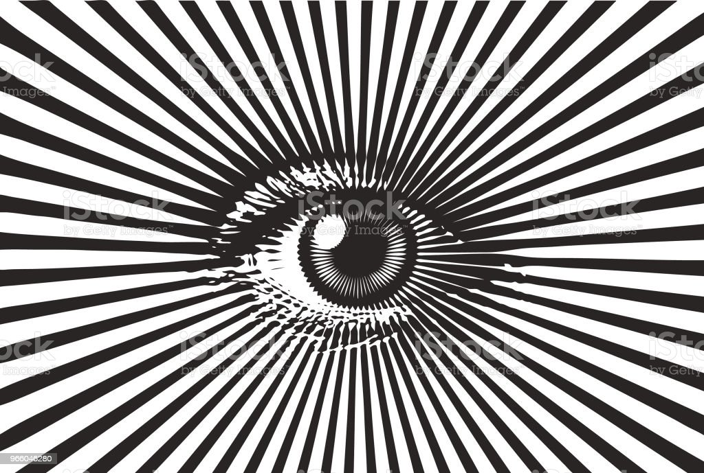 All seeing eye - Royalty-free Black And White stock vector