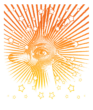 All seeing eyes with stars and sunbeams