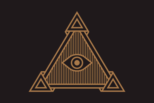 all seeing icon illustration. the symbol of the illuminati eye in the pyramid, in different styles. - lodge member stock illustrations