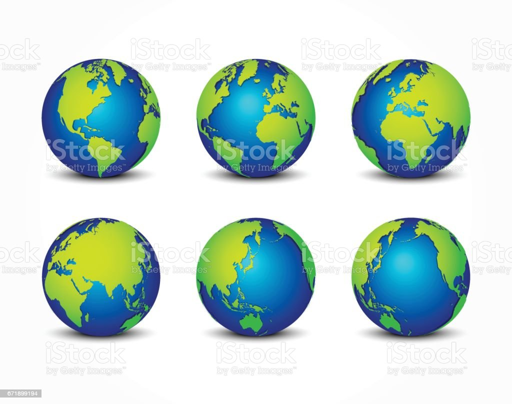 all side of planet ( around the world ) ( earth conservation concept ) vector art illustration