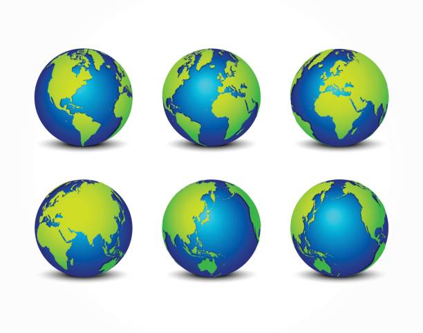 illustrazioni stock, clip art, cartoni animati e icone di tendenza di all side of planet ( around the world ) ( earth conservation concept ) - terra