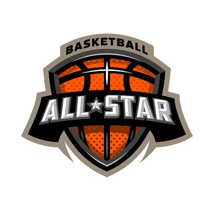 All star basketball, sports icon emblem.
