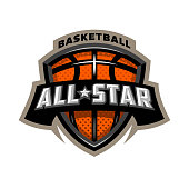 All star basketball, sports icon emblem.