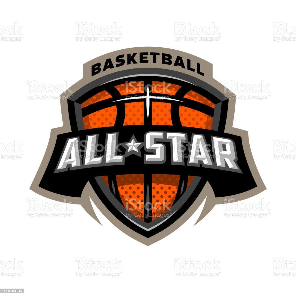 All star basketball, sports icon emblem. vector art illustration