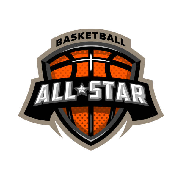 all star basketball, sports icon emblem. - basketball stock illustrations