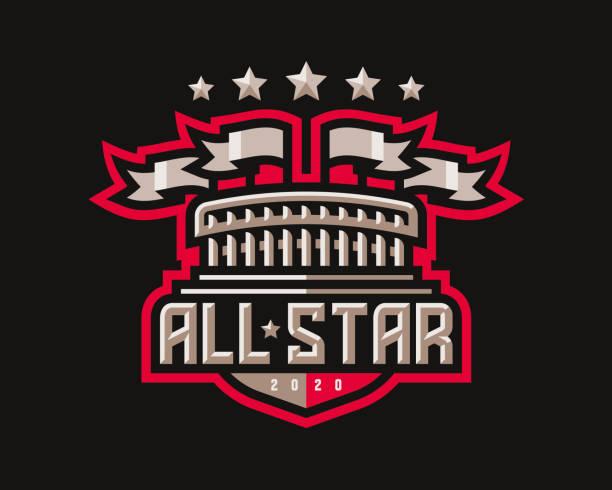 stockillustraties, clipart, cartoons en iconen met all star design, stadion met flagsemblem toernooi sjabloon bewerkbaar voor uw ontwerp. - kampioenschap