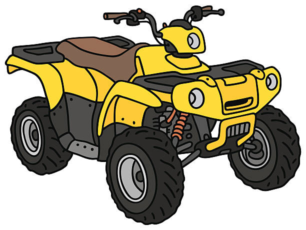 All terrain vehicle Hand drawing of a funny yellow ATV - not a real model, quadbike stock illustrations