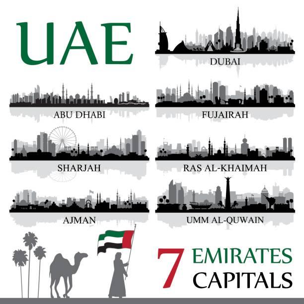 birleşik arap emirlikleri tüm büyük şehirler - abu dhabi stock illustrations