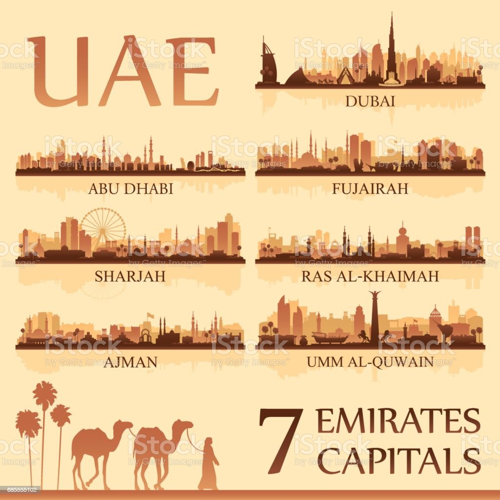 All the capital cities of the United Arab Emirates vector art illustration