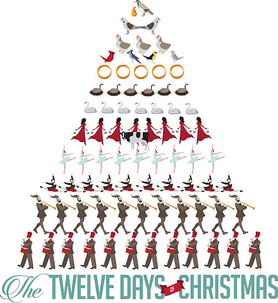 All twelve days of Christmas forming a tree vector art illustration