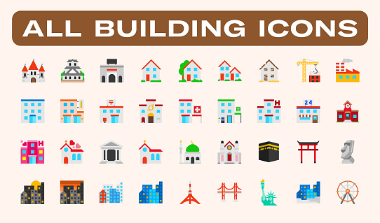 All type of Buildings, Architecture Examples Vector Illustrations Icons Set. Residential Buildings, Castle, Mosque, Church, School, Office, Hospital, Hotel, Post, Grocery, Skyscrapers, Famous Landmarks, Urban Objects Isolated Flat Symbols Collection.