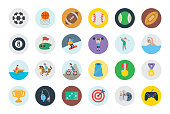All type of sports, recreation, fitness emojis, emoticons, stickers. Games, horse riding, rider, soccer, football balls, mountain biking symbols, vector illustration icons, concept, set, collection