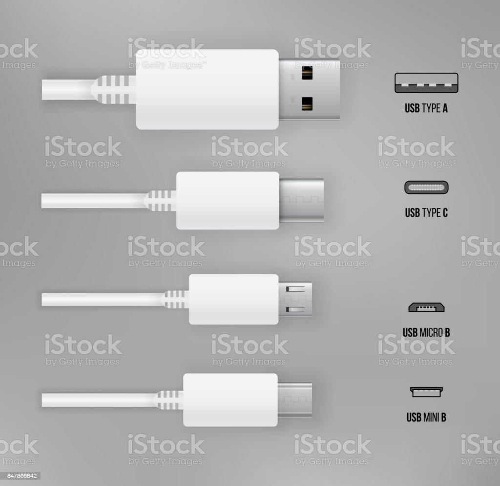 USB all type vector art illustration