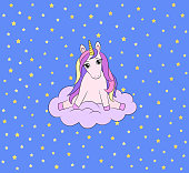 Unicorn baby cartoon character. Little pony sitting on a cloud. Cute magical animal. Golden stars on blue background. For nursery poster decoration. Baby shower or birthday card. Textile print, book.