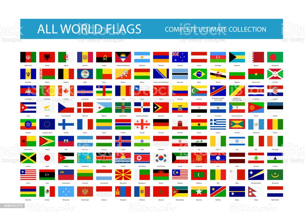 All Vector World Country Flags. Part 1 vector art illustration
