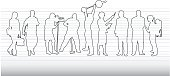 Vector illustration of people at various job.  Ink drawing of a crowd of people in outline form