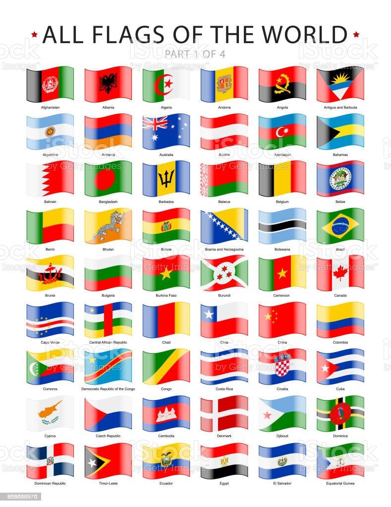 Todos agitando las banderas del mundo. Colección de iconos de vector - ilustración de arte vectorial