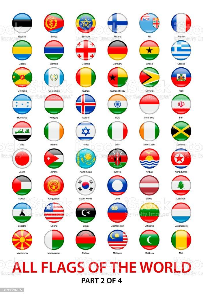 Alle wehenden Flaggen der Welt. Vektor Runde Symbolsammlung – Vektorgrafik