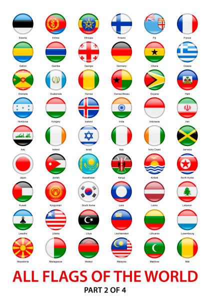 すべてを振って世界のフラグ。アイコンのコレクション ラウンド ベクトル - アイルランドの国旗点のイラスト素材/クリップアート素材/マンガ素材/アイコン素材