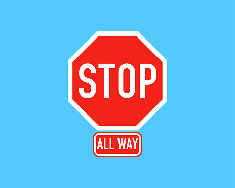 All way road stop sign with a shadow vector illustration