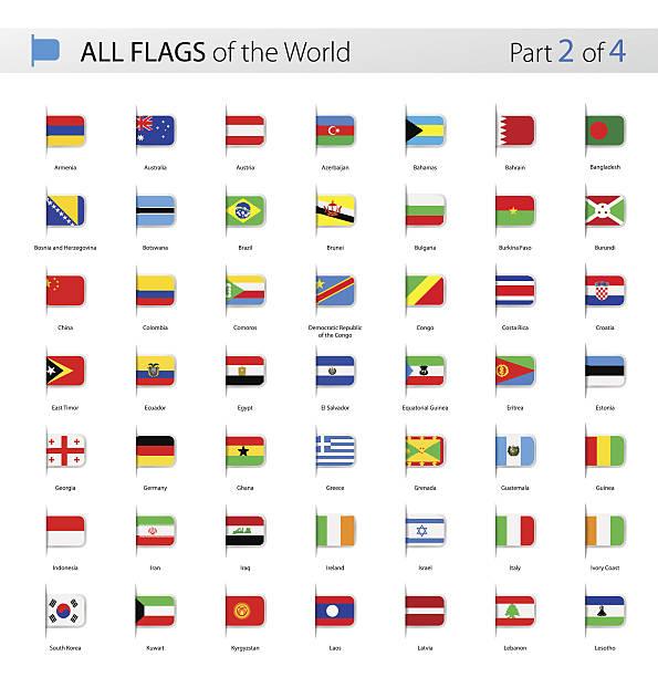 all world bookmark label vector flags - collection - flagge irland stock-grafiken, -clipart, -cartoons und -symbole