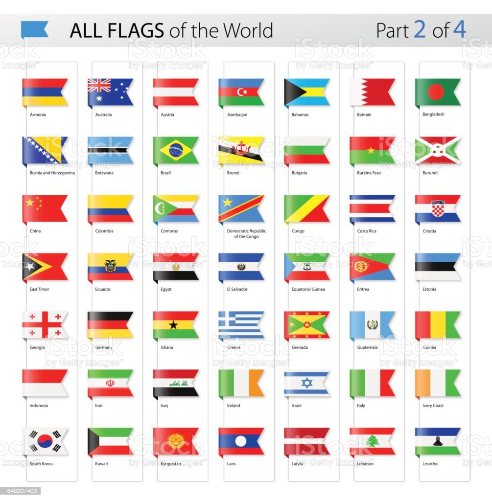 All World Bookmark Label Vector Flags - Collection ベクターアートイラスト