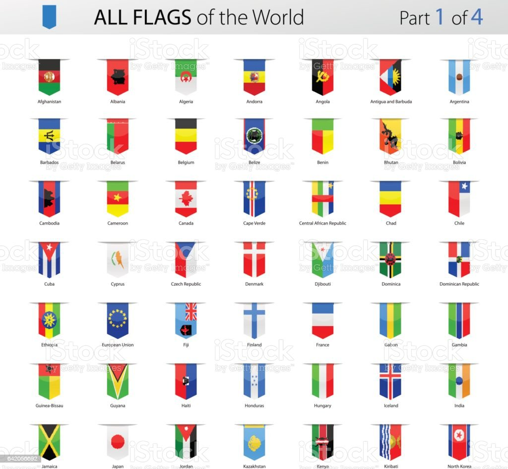 Todos Bookmark etiqueta Vector banderas del mundo - colección - ilustración de arte vectorial