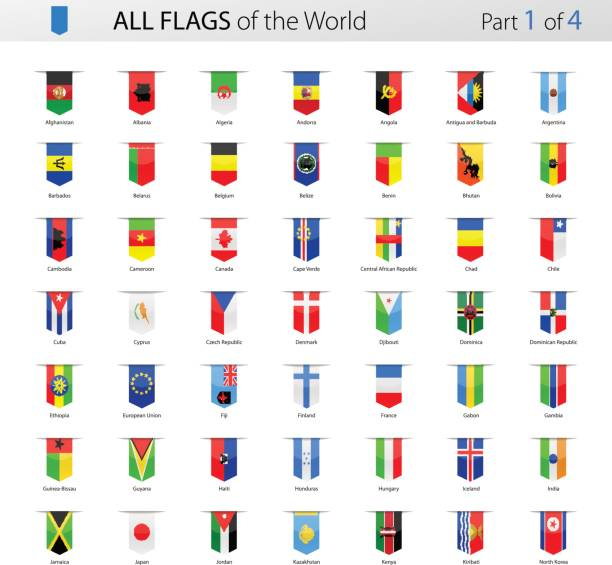 All World Bookmark Label Vector Flags - Collection Vector Collection of All World Vector Flags national flag illustrations stock illustrations