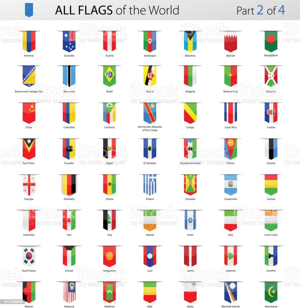 Alle Lesezeichen Label Vektor Flaggen der Welt - Sammlung – Vektorgrafik