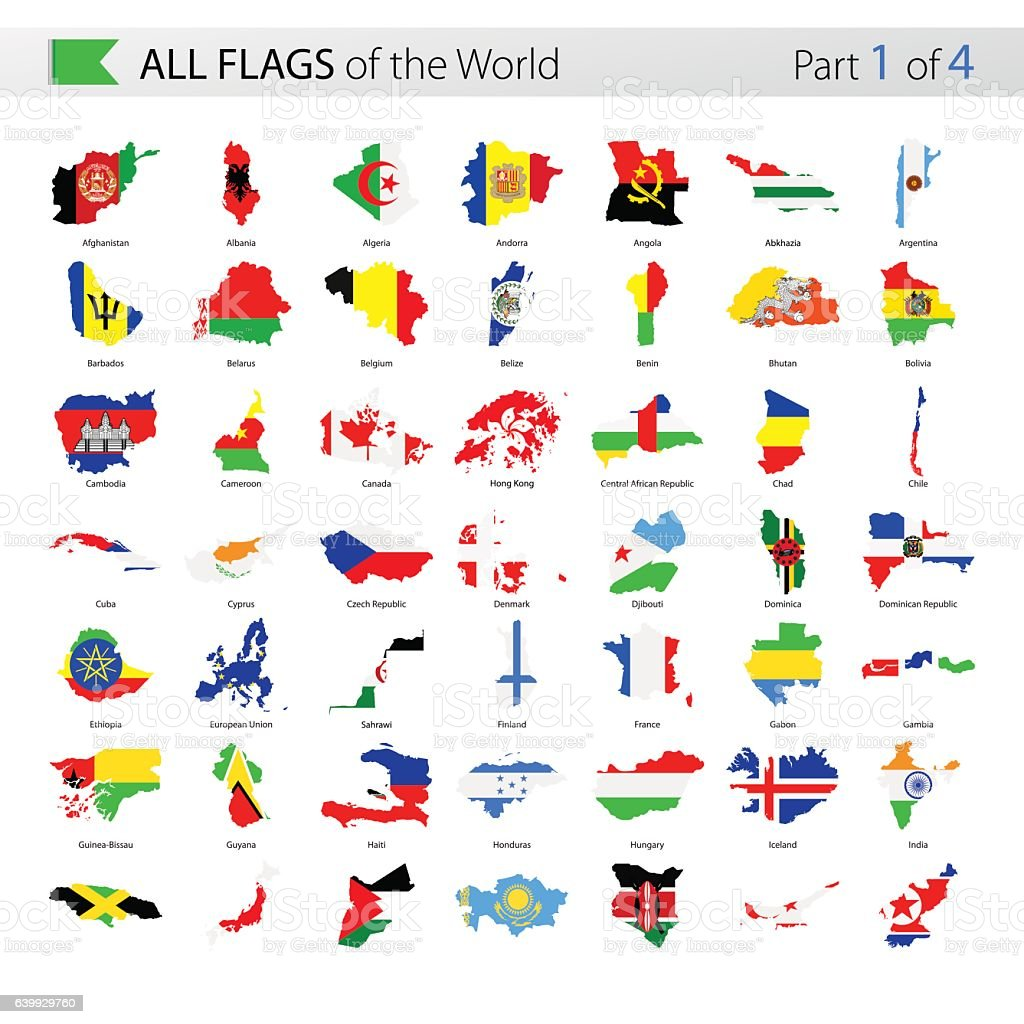 All World Country Contour Vector Flags - Collection vector art illustration