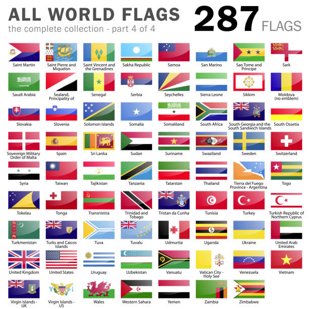 All World Flags - 287 items - part 4 of 4 vector art illustration