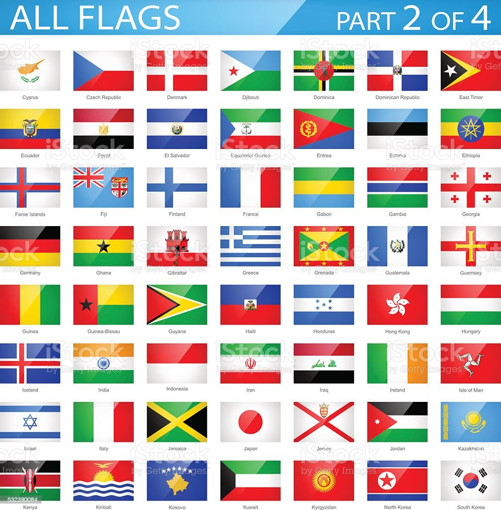 All World Flags - Glossy Rectangle Icons - Illustration vector art illustration