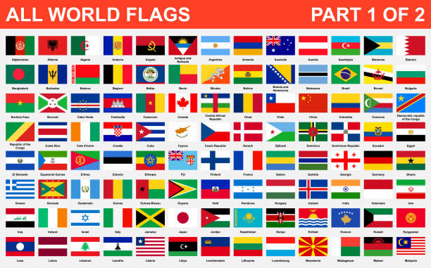 All world flags in alphabetical order. Part 1 of 2 All world flags in alphabetical order. Part 1 of 2 indonesia stock illustrations