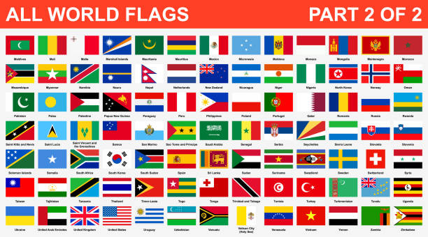 All world flags in alphabetical order. Part 2 of 2 All world flags in alphabetical order. Part 2 of 2 country geographic area stock illustrations