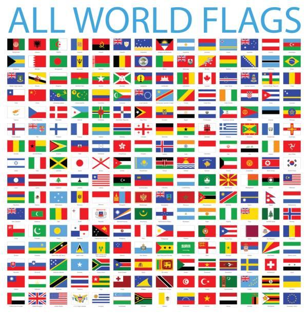 wszystkie flagi świata - zestaw ikon wektorowych - białoruś stock illustrations