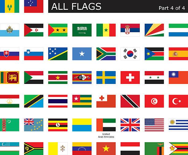 wszystkie flagi państw świata - senegal stock illustrations