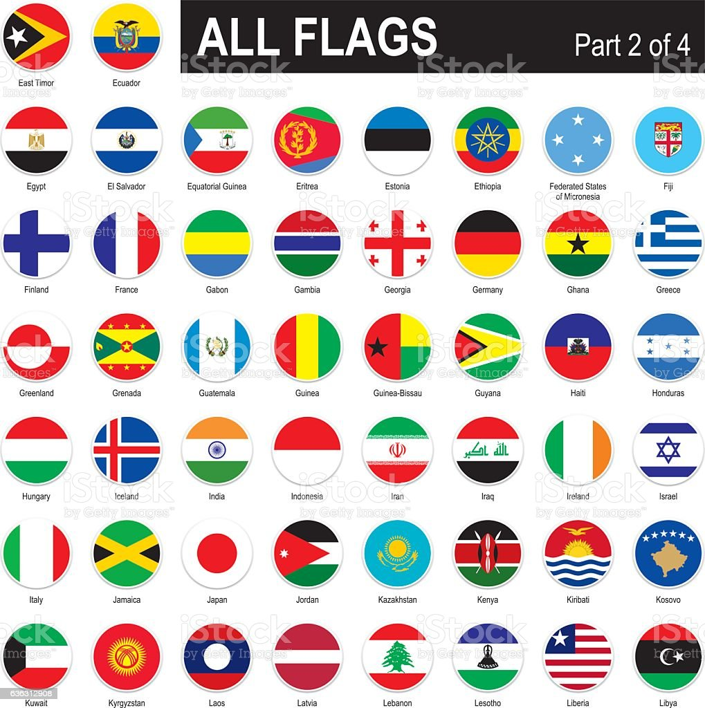 All World Flags vector art illustration
