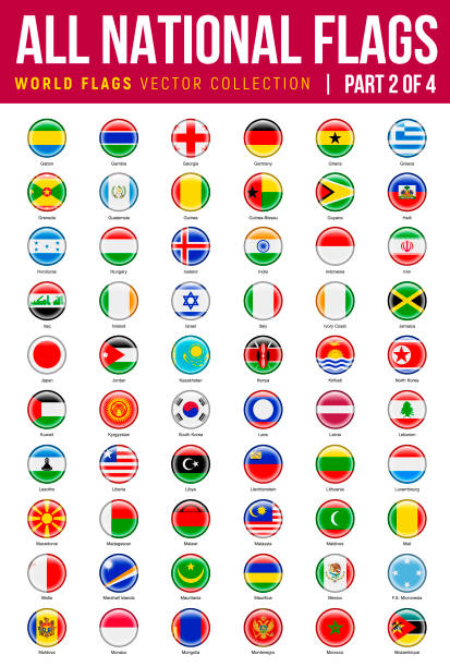 All World Flags. Vector Round Icons. Part 2 of 4 Alphabet List of All Vector Round world flags. Haiti, Japan, North Korea, Malaysia, Montenegro Icons drawing of a haiti map stock illustrations