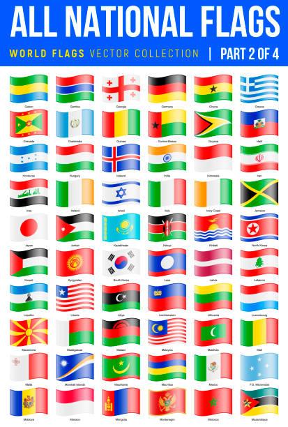 すべての世界のフラグ。手を振っている光沢のあるアイコンをベクトルします。パート 2 の 4 - アイルランドの国旗点のイラスト素材/クリップアート素材/マンガ素材/アイコン素材