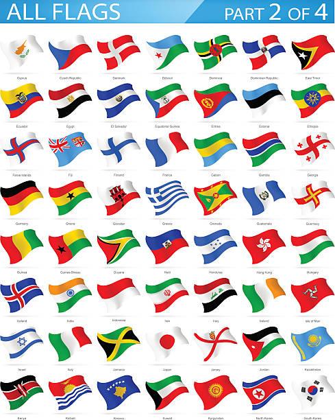ilustraciones, imágenes clip art, dibujos animados e iconos de stock de todas las banderas del mundo-agitando iconos-ilustración - bandera de ecuador