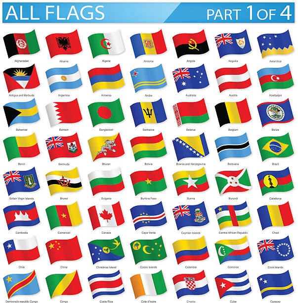 stockillustraties, clipart, cartoons en iconen met all world flags - waving icons - illustration - cambodja