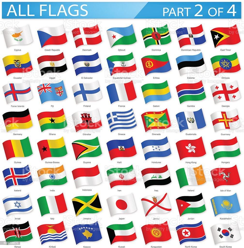 Todo mundo agitando bandeiras-Ilustração de ícones - ilustração de arte em vetor