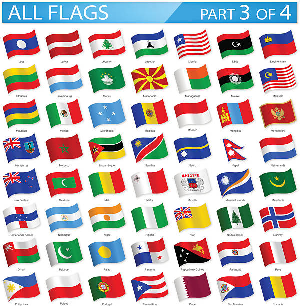 All World Flags - Waving Icons - Illustration Full Collection of World Flags in Alphabetical Order national flag illustrations stock illustrations