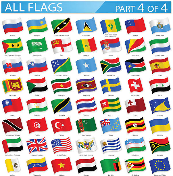 all world flags - waving icons - illustration - union jack flag stock illustrations, clip art, cartoons, & icons