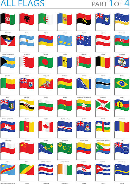 alle welt-flaggen-winken pins-illustration - flagge chile stock-grafiken, -clipart, -cartoons und -symbole