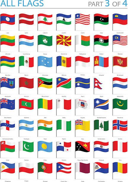 stockillustraties, clipart, cartoons en iconen met all world flags - waving pins - illustration - laos indochina