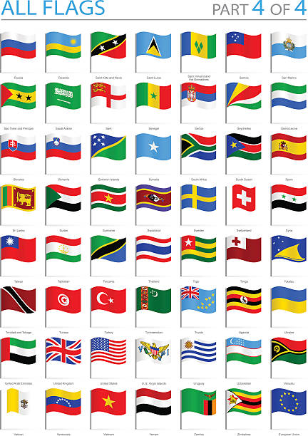 all world flags - waving pins - illustration - russian flag stock illustrations, clip art, cartoons, & icons