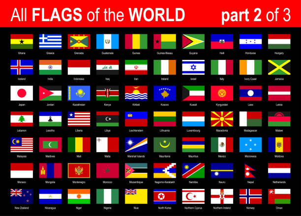 All World National Flags Icon Set - Alphabetically - part 2 of 3 - Vector Illustration All World National Flags Icon Set - Alphabetically - part 2 of 3 - Vector Illustration alphabet clipart stock illustrations